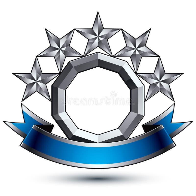 klassiskt kungligt symbol för vektor 3d, silverstjärnor stock illustrationer
