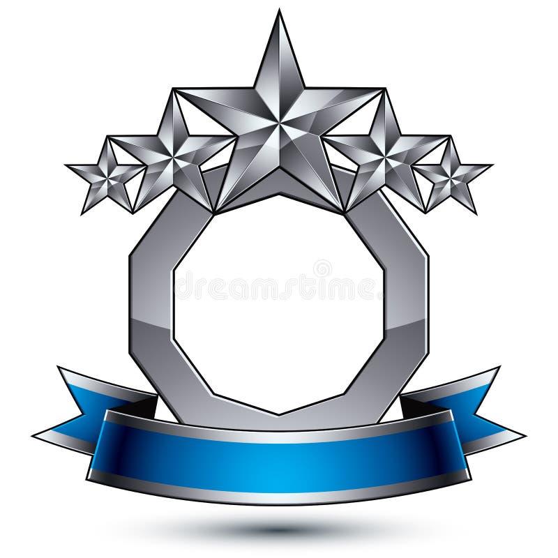 klassiskt kungligt symbol för vektor 3d, sofistikerad emble silverrunda vektor illustrationer