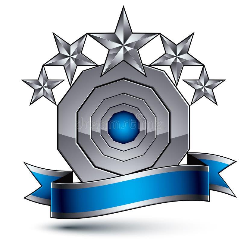klassiskt kungligt symbol för vektor 3d, sofistikerad emble silverrunda stock illustrationer