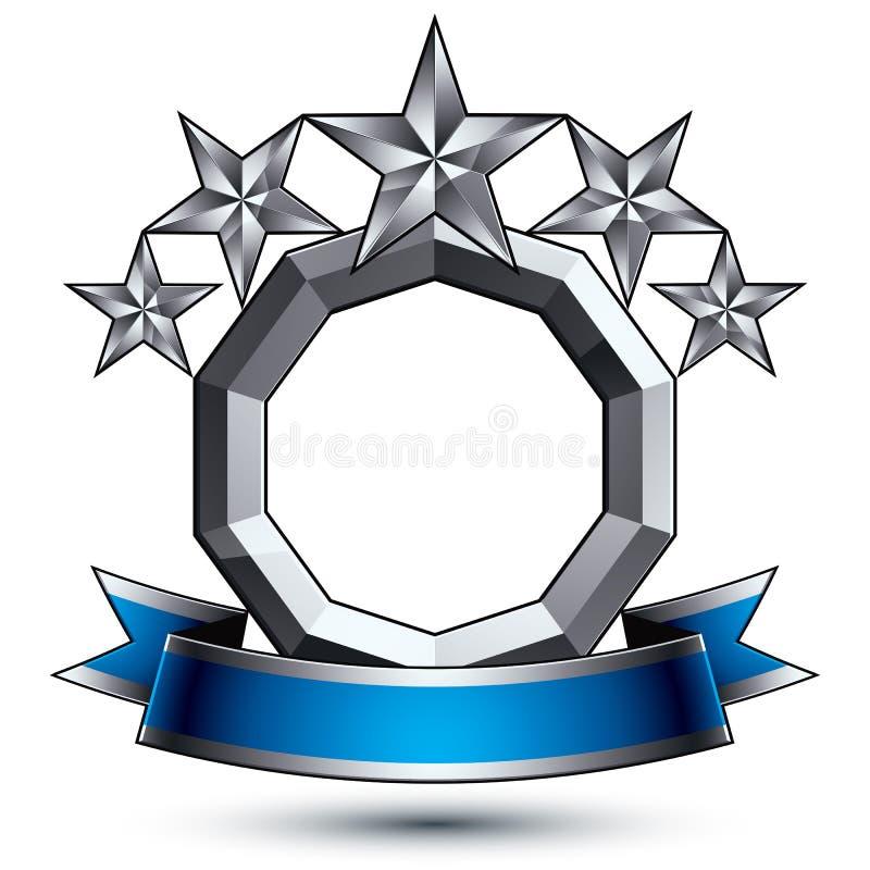 klassiskt kungligt symbol för vektor 3d, sofistikerad silverrunda royaltyfri illustrationer