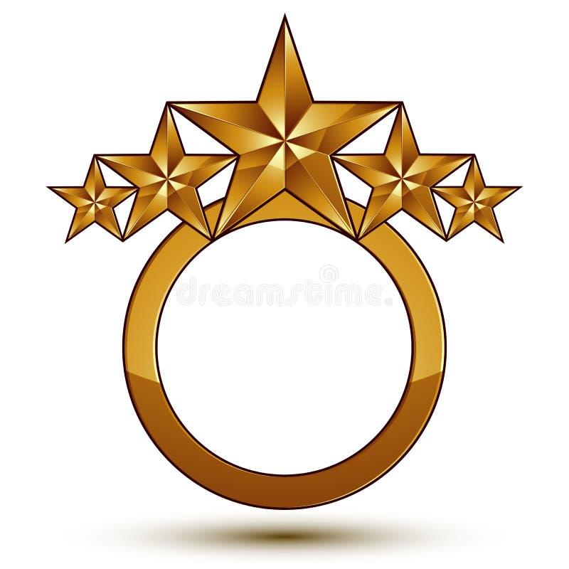klassiskt kungligt symbol för vektor 3d, sofistikerat guld- runt emble stock illustrationer