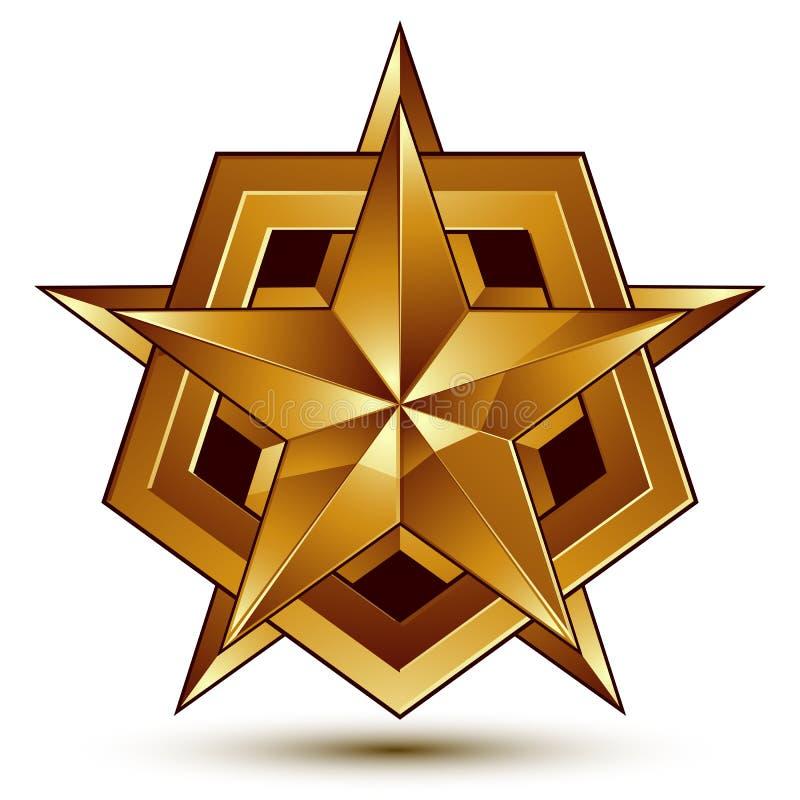 klassiskt kungligt symbol för vektor 3d, sofistikerat guld- stjärnaemblem vektor illustrationer