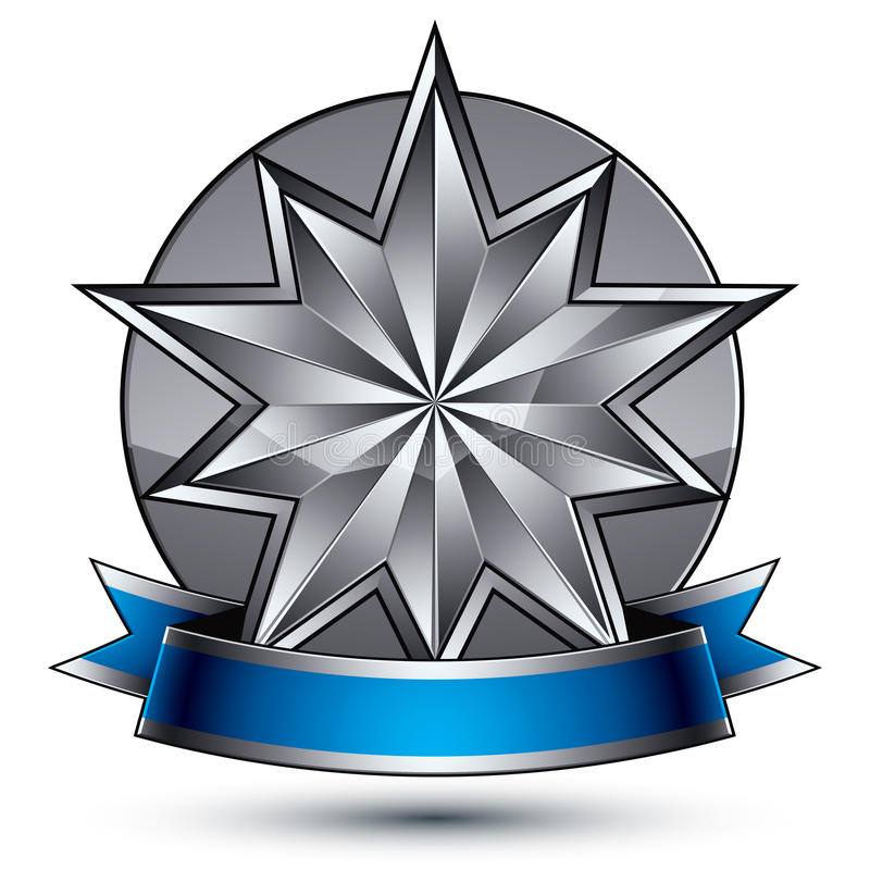 klassiskt kungligt symbol för vektor 3d, sofistikerat silveremblem royaltyfri illustrationer