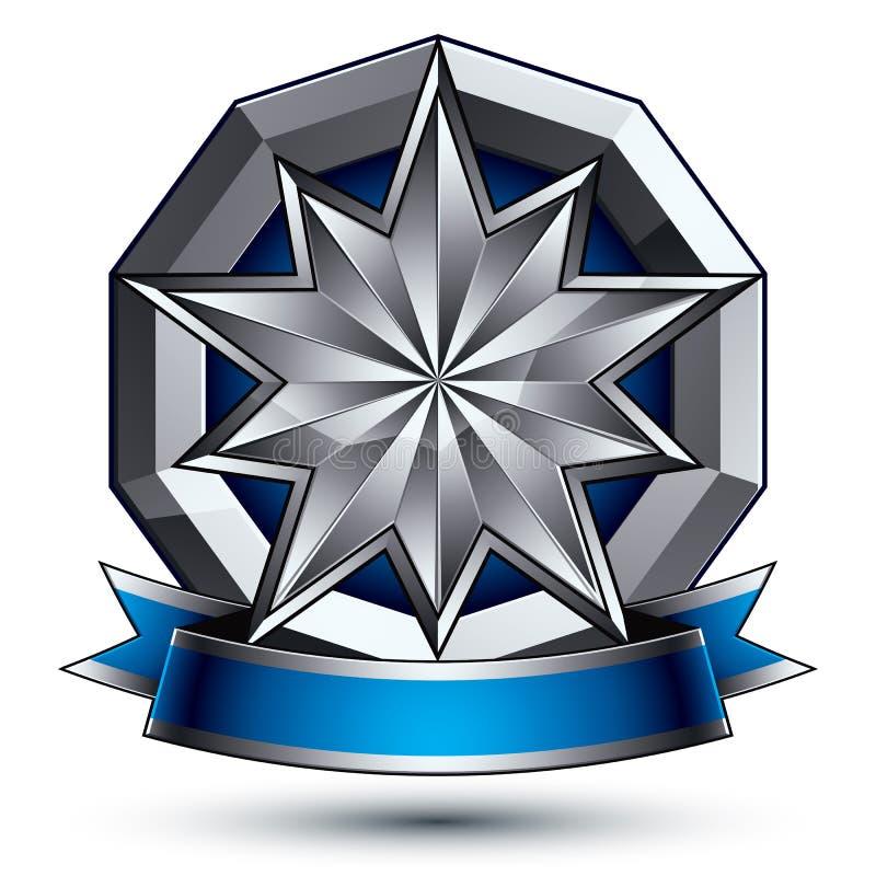 klassiskt kungligt symbol för vektor 3d, sofistikerat silveremblem vektor illustrationer