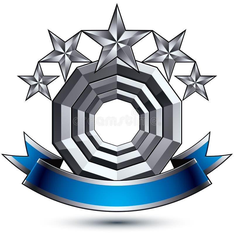 klassiskt kungligt symbol för vektor 3d, sofistikerat silverrundaemblem stock illustrationer