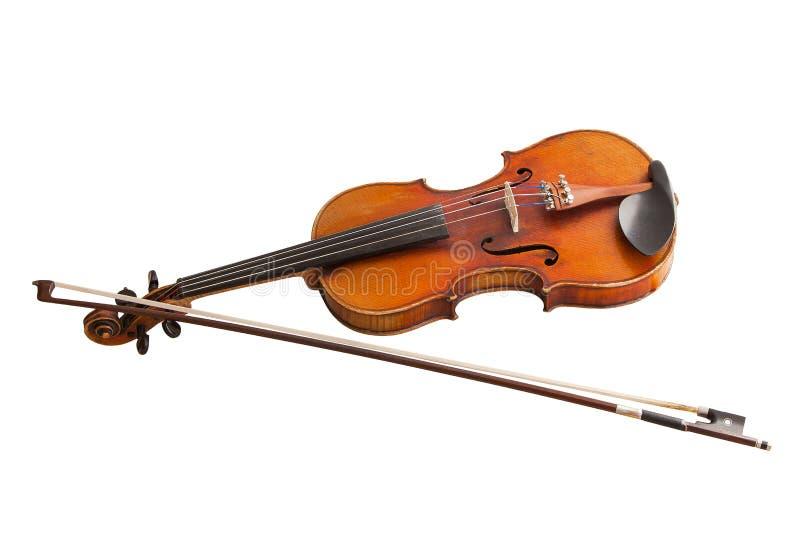 Klassiskt musikinstrument, gammal fiol som isoleras på en vit bakgrund royaltyfri fotografi