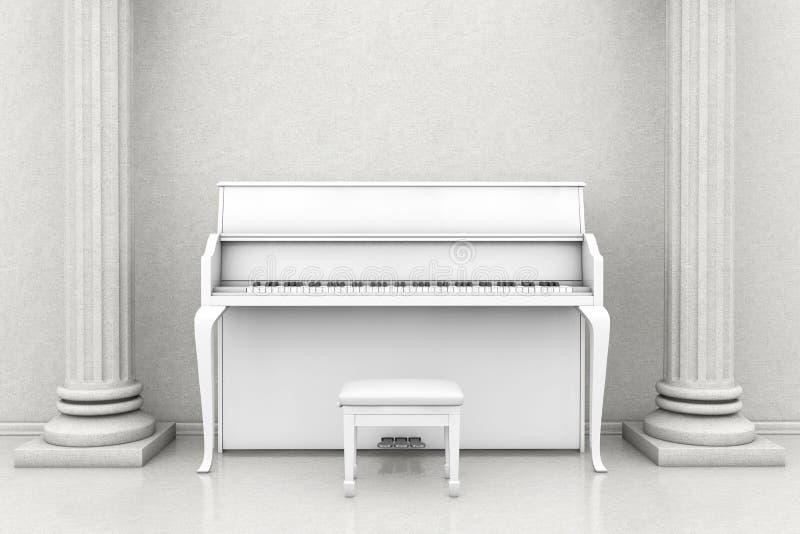 Klassiskt musikrum med det vita pianot royaltyfri foto