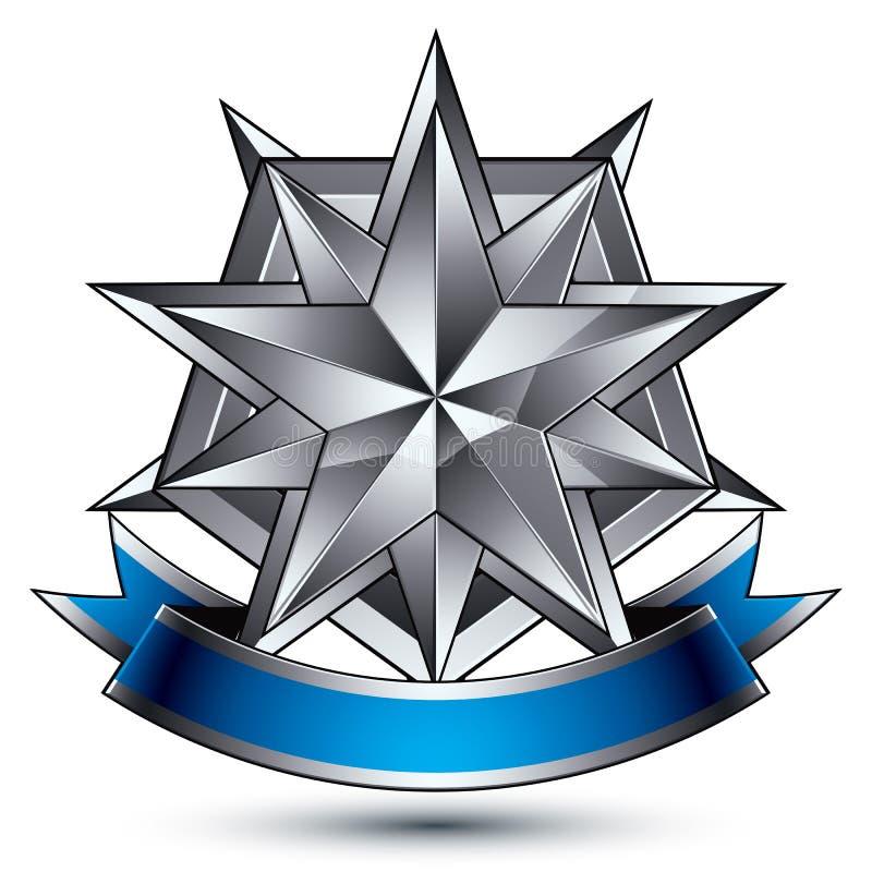 klassiskt skyddssymbol för vektor 3d, sofistikerat silveremblem stock illustrationer