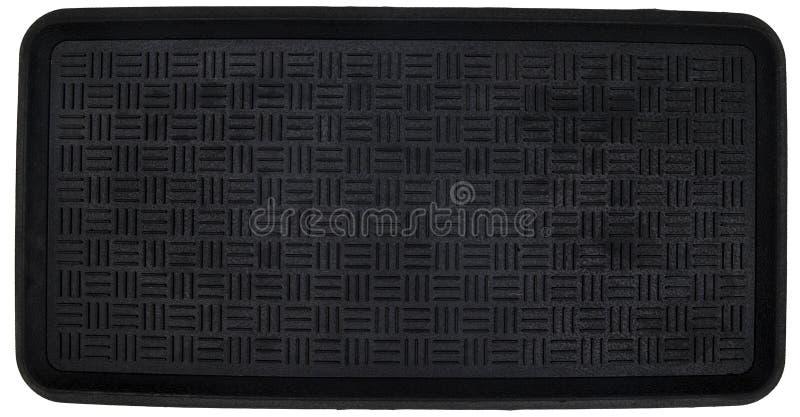 Klassiskt svart texturerat rundat mattt för hörnrektangeldörr arkivbilder