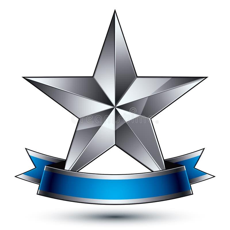 klassiskt symbol för vektor 3d, sofistikerat silveremblem med penta vektor illustrationer