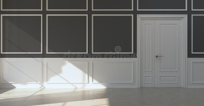 Klassiskt töm rummörkerväggar stock illustrationer