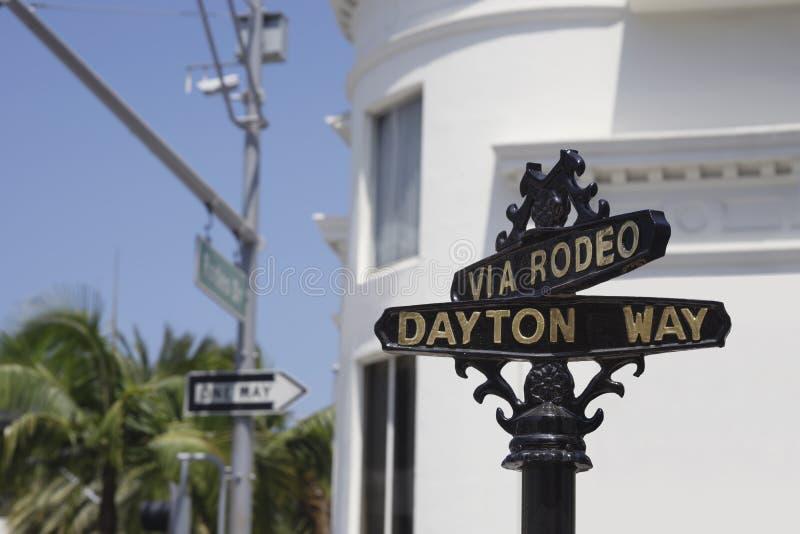Klassiskt tecken för rodeodrevgata, Beverly Hill royaltyfri fotografi