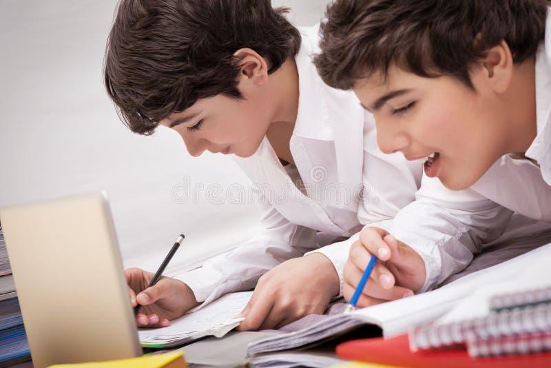 Klasskompisar som gör läxa arkivfoto
