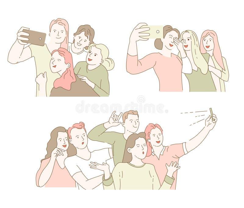 Klasskompissamla eller vänner som möter selfie- eller gruppfotoet royaltyfri illustrationer