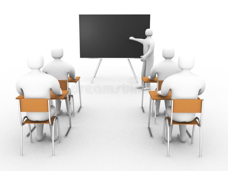 klassrum 3d med lärare och elever royaltyfri illustrationer