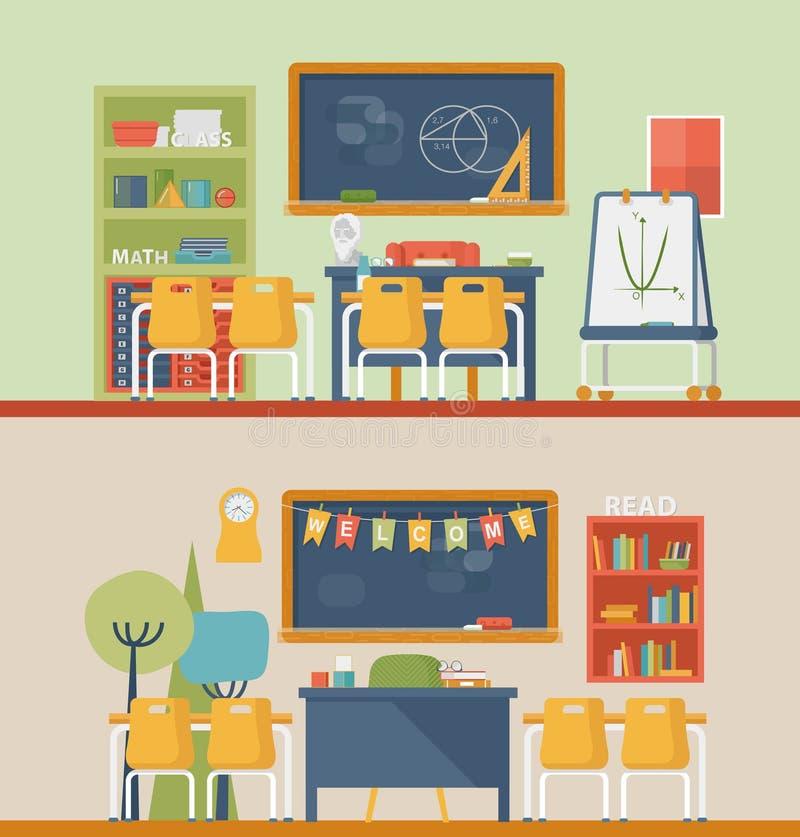 Klassrum för litteratur och matematik vektor illustrationer