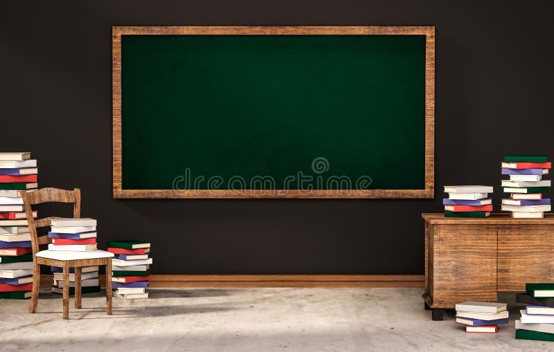 Klassrum, grön svart tavla på den svarta väggen med tabellen, stol och högar av böcker på det konkreta golvet, framförd 3d stock illustrationer
