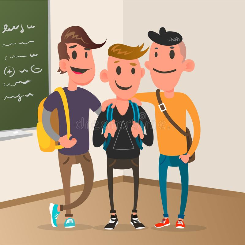 Klassrum med elever, design för studentteckenvektor vektor illustrationer