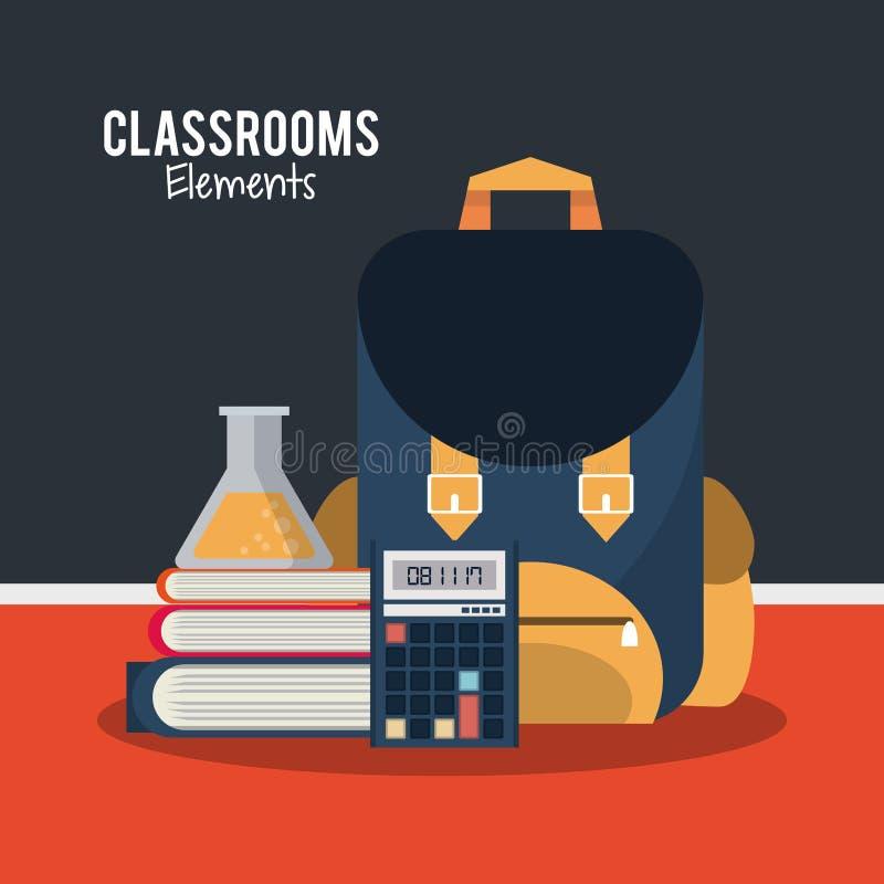 Klassrumbeståndsdeltecknad film stock illustrationer