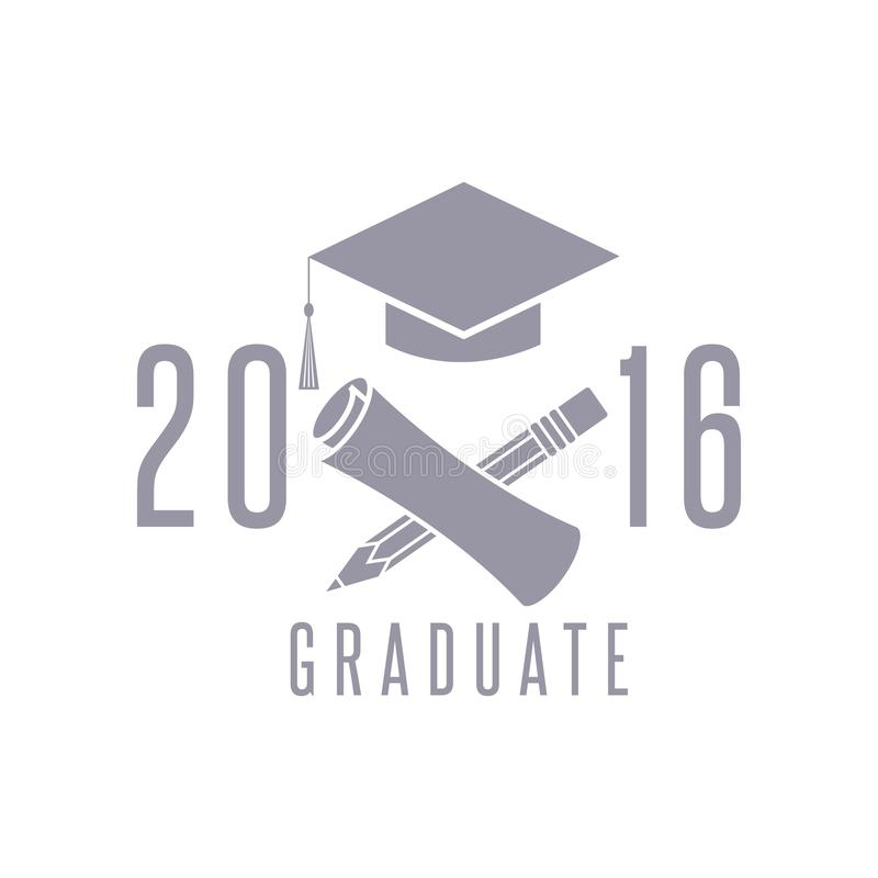 Klasy skalowania świętowania projekta 2016 elementu, nakrętki, dyplomu i ołówka edukacji symbol plakatowy, gratulacyjna ceremonia ilustracja wektor