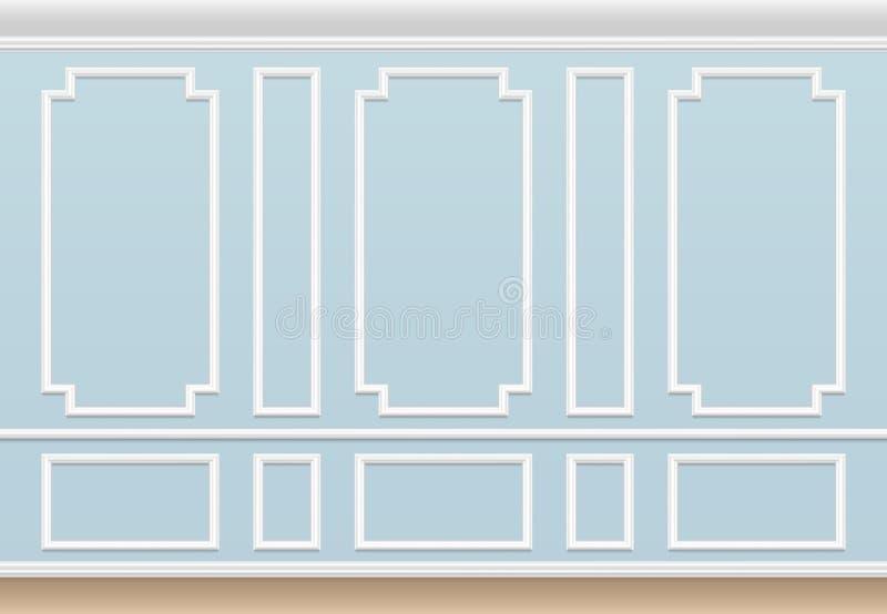 Klasyczna błękit ściana z pleśniejącym panelem Domowy luksusowy wnętrze z formierstwo ramami Wektorowy tło ilustracja wektor