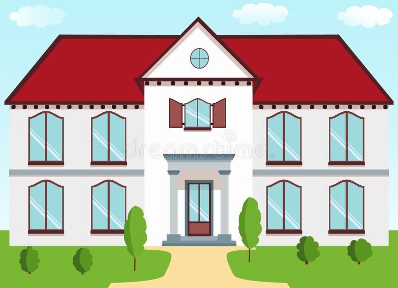 Klasyczna chałupa z czerwonym dachem, gankowe kolumny, żaluzje, gazon o royalty ilustracja