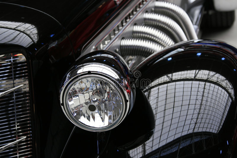 klasyczna czarnym samochodzie, rocznik fotografia stock