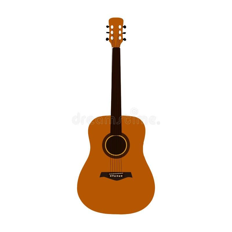 Klasyczna gitara akustyczna na białym tle, wektor eps 10 ilustracja wektor