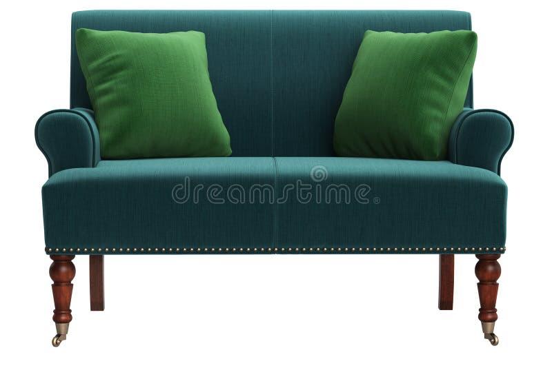 Klasyczna kanapa odizolowywająca na białym tle Cyfrowej ilustracja świadczenia 3 d ilustracja wektor