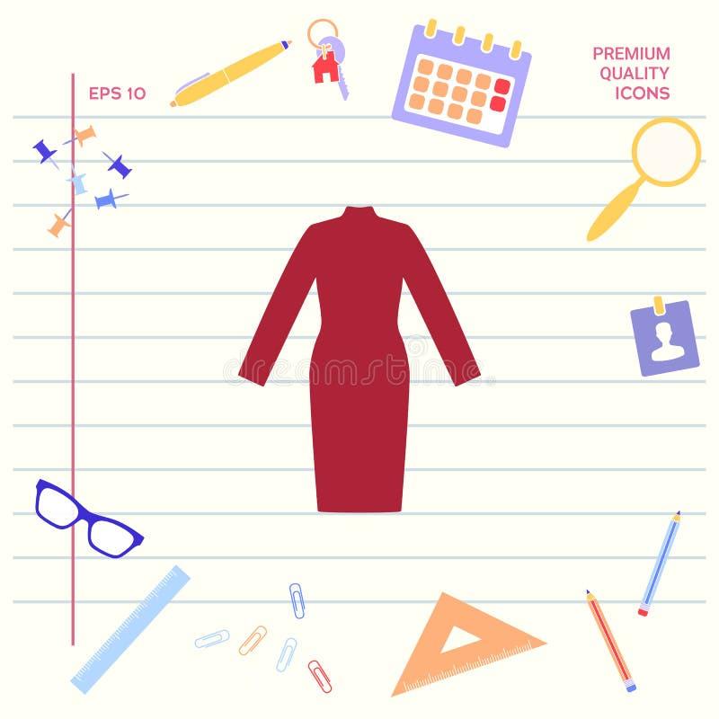Klasyczna kobiety suknia z długimi rękawami sylwetka ilustracji