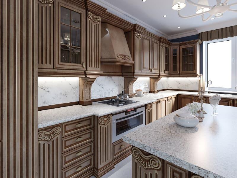 Klasyczna kuchnia w luksusu domu z dębowego drewna cabinetry royalty ilustracja