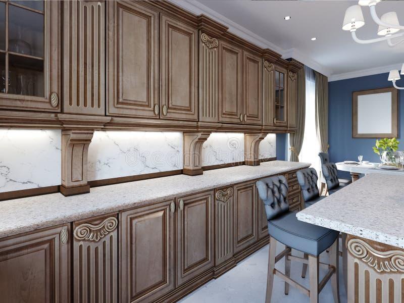 Klasyczna kuchnia w luksusu domu z dębowego drewna cabinetry ilustracja wektor