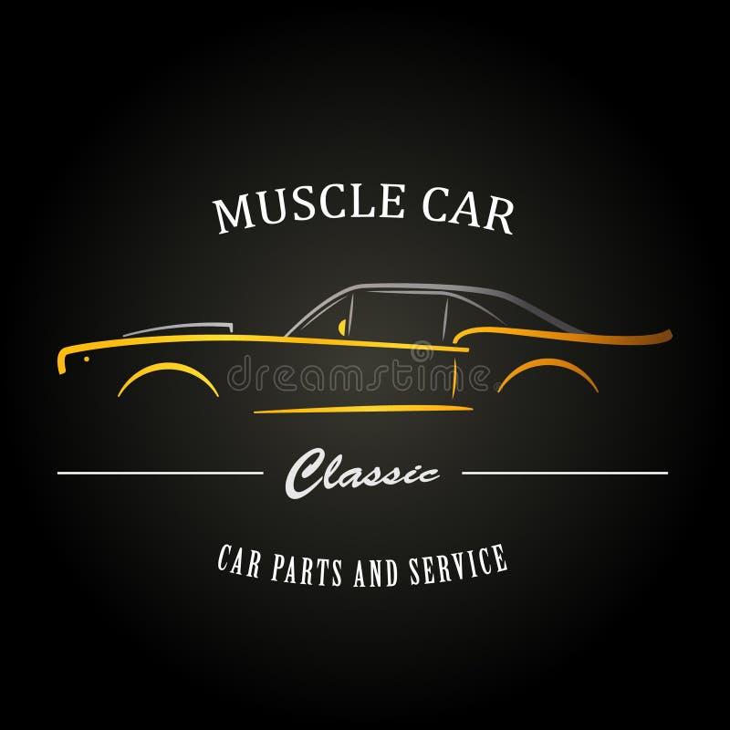 Klasyczna mięśnia samochodu sylwetka ilustracja wektor