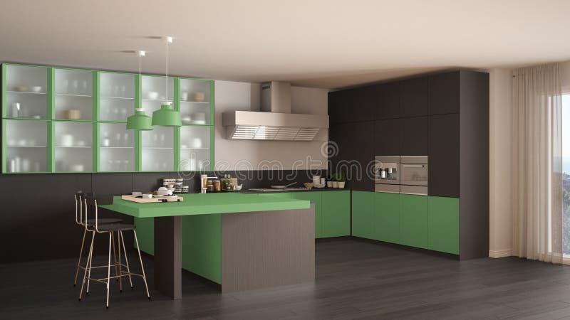 Klasyczna minimalna szarość i zieleni kuchnia z parkietową podłoga, moder ilustracja wektor