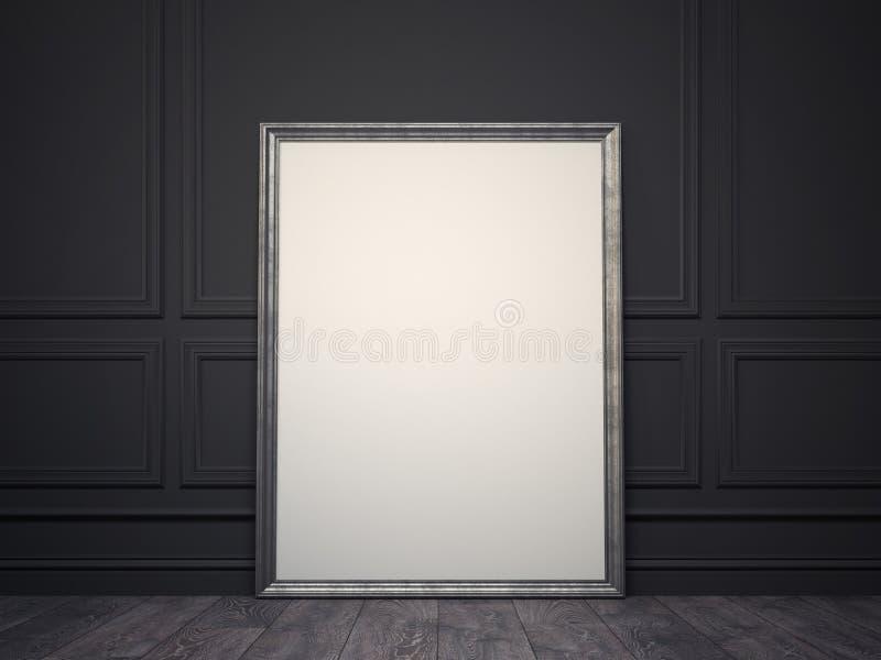Klasyczna obrazek rama w rocznika wnętrzu świadczenia 3 d ilustracji