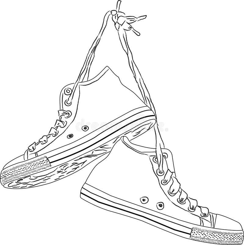 Klasyczna ręka rysujący roczników sneakers royalty ilustracja