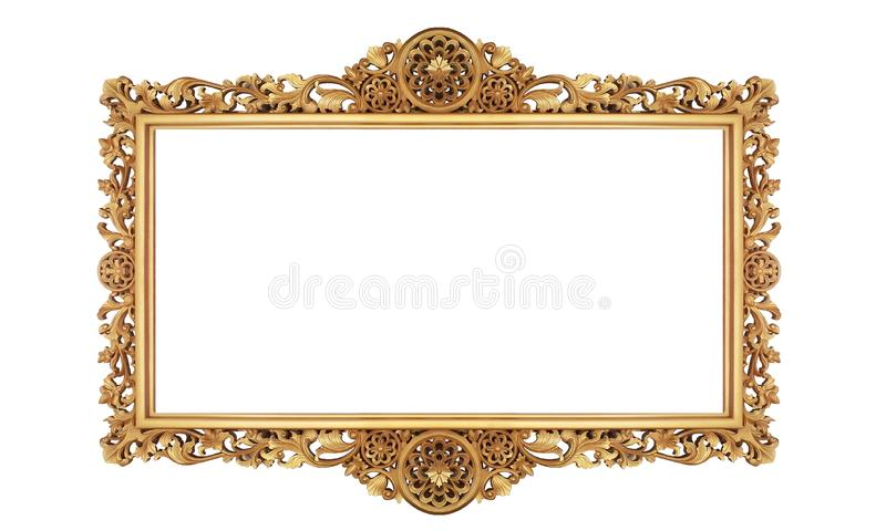 Klasyczna Retro Starego złota fotografia lub obraz rama w Białym Odosobnionym tle 01 obrazy stock