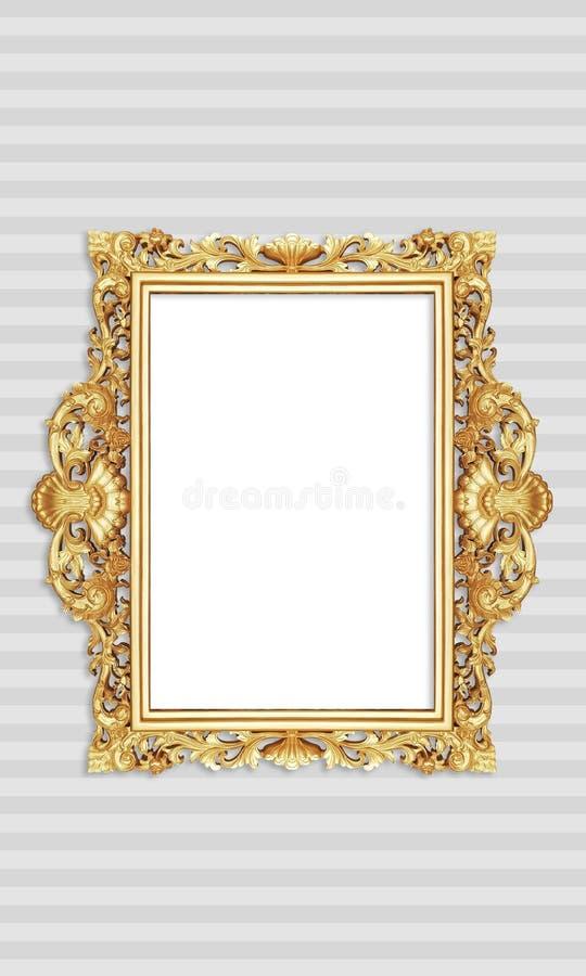 Klasyczna Retro Starego złota fotografia lub obraz rama w Białym Odosobnionym tle 52 obraz royalty free
