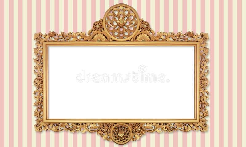 Klasyczna Retro Starego złota fotografia lub obraz rama w Różnorodnym Odosobnionym tle 69 50 zdjęcia royalty free