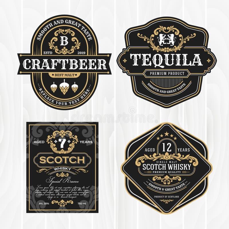 Klasyczna rocznik rama dla whisky etykietek i antykwarskiego produktu royalty ilustracja