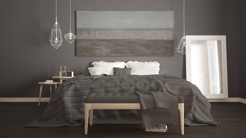 Klasyczna sypialnia, scandinavian nowożytny styl, minimalistic interio fotografia royalty free