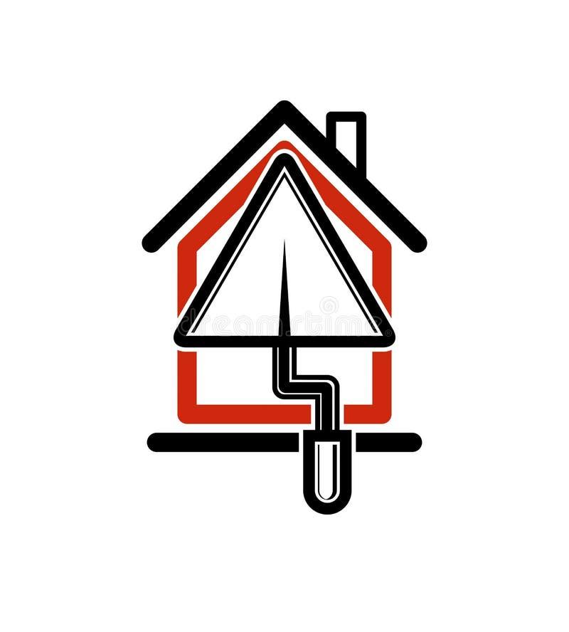 Klasyczna szpachelki ikona, budowa materiały Dom z prac narzędziami, pl royalty ilustracja