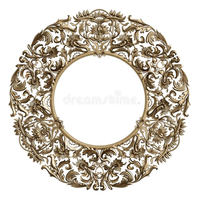 Klasyczna złota round rama z ornamentu wystrojem odizolowywającym na bielu obraz stock