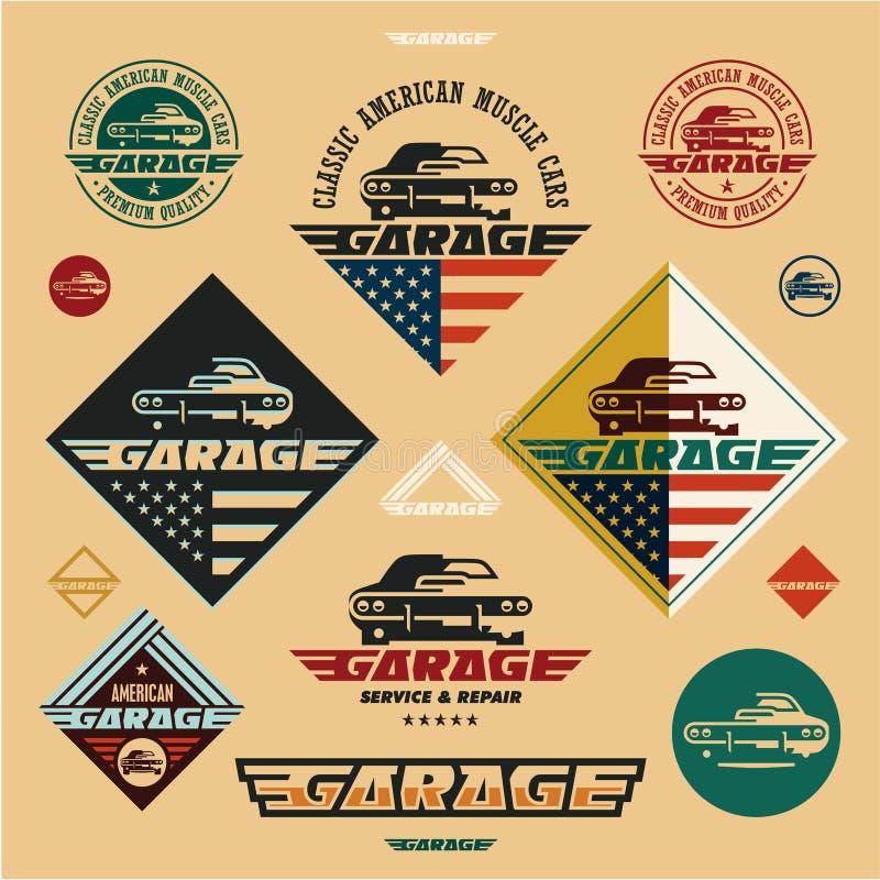 Klasyczne Amerykańskie mięśni samochodów garażu rocznika stylu etykietki i odznaki, mięśnia samochodu ikona royalty ilustracja