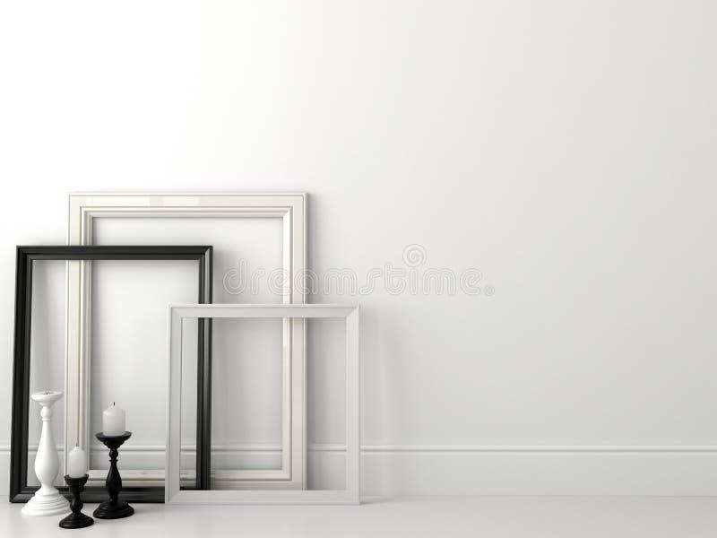 Klasyczne czarny i biały ramy na biel ścianie obraz royalty free