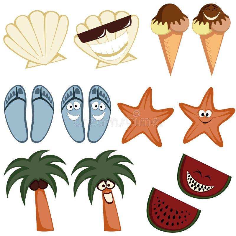 Klasyczne lato ikony ilustracji