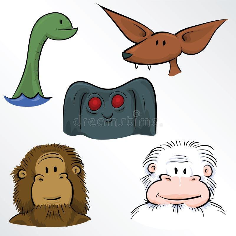 Klasyczne potwór twarze ilustracji
