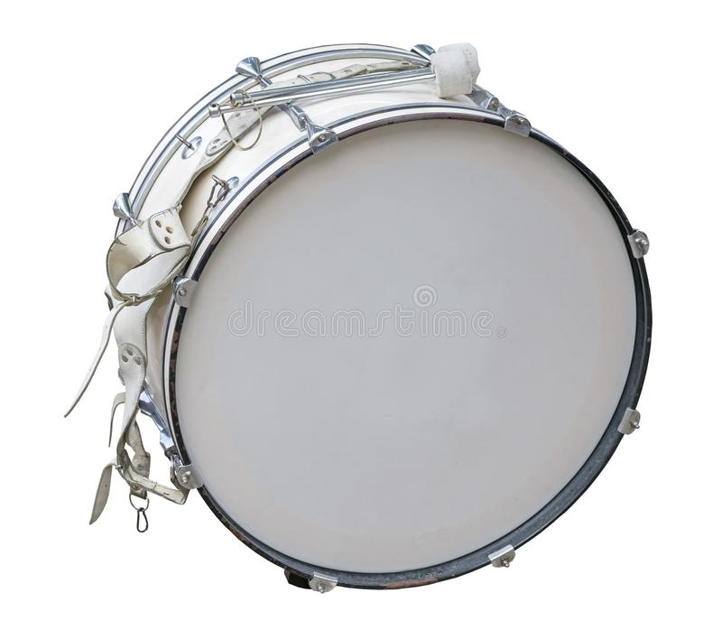 Klasycznego instrumentu muzycznego duży bęben odizolowywający na bielu obraz royalty free
