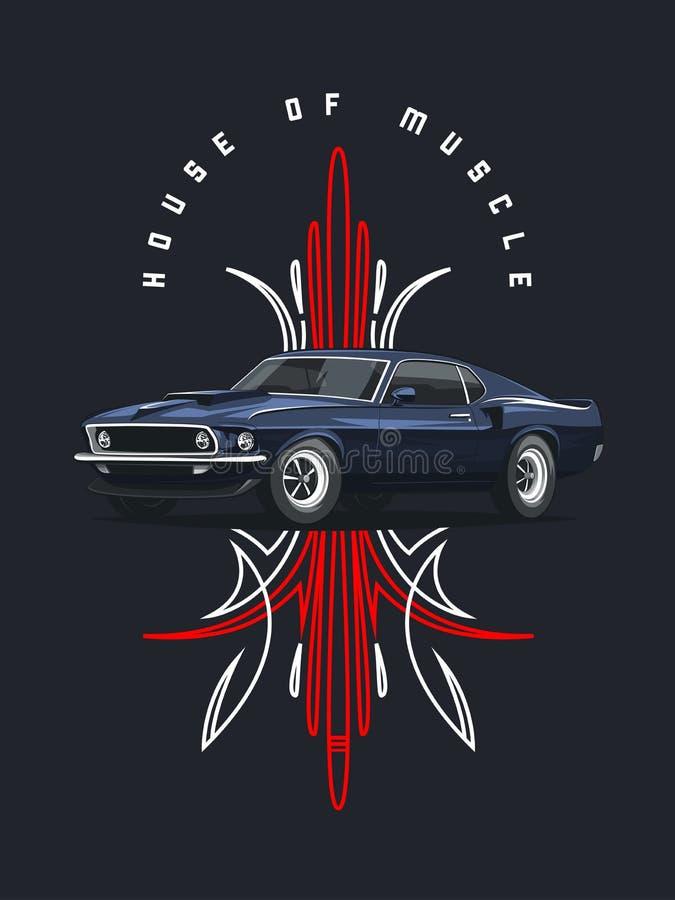 Klasycznego mięśnia samochodowy plakat z plemiennym ornamentem royalty ilustracja