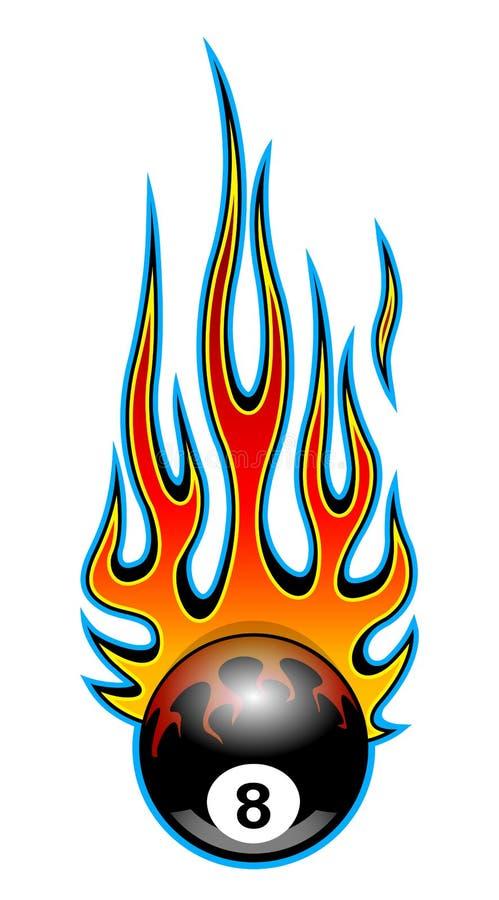 Klasycznego plemiennego hotrod mięśnia samochodowy płomień z billiards 8 piłki iso ilustracja wektor